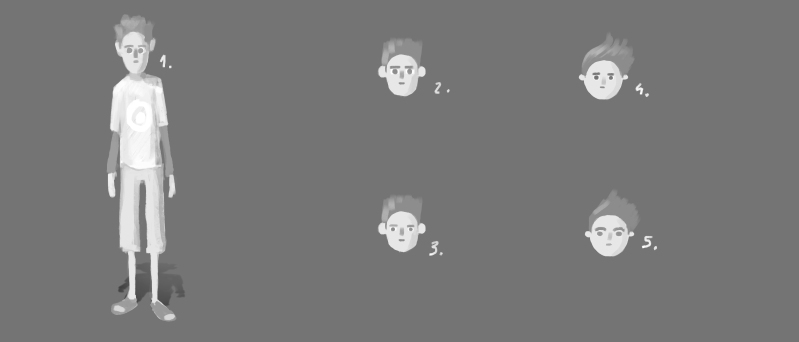 He_ various faces